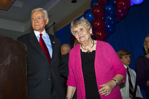 Chris Detrick  |  The Salt Lake Tribune  Sen. Orrin Hatch and his wife Elaine speak during the Republican Election Night Party at the Salt Lake Hilton Hotel Tuesday November 6, 2012.