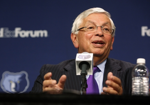 NBA Commissioner David Stern talks about the new ownership group for the Memphis Grizzlies during a news conference before the Grizzlies' home opening basketball game against the Utah Jazz, Monday, Nov. 5, 2012, in Memphis, Tenn. Robert J. Pera and his partners who form Memphis Basketball, LLC, bought the Grizzlies from Michael Heisley for $377 million in a sale finalized last week. (AP Photo/Lance Murphey)