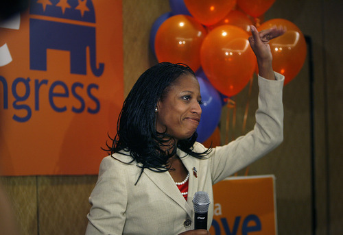 Scott Sommerdorf  |  The Salt Lake Tribune               Mia Love thanks her supporters and waves goodbye after giving her concession speech at the GOP headquarters on election night.