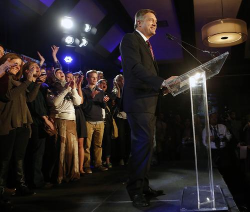 Utah congressional incumbent Jim Matheson makes remarks during the democrat's election night watch party Tuesday, Nov. 6, 2012, in Salt Lake City.  (AP Photo/Jim Urquhart)