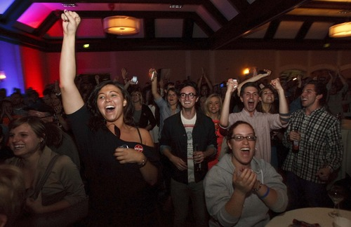 Leah Hogsten  |  The Salt Lake Tribune Democrats  celebrate President Barak Obama's re-election at the Utah Democratic Party headquarters at Salt Lake Sheraton Hotel Tuesday, November 6, 2012.