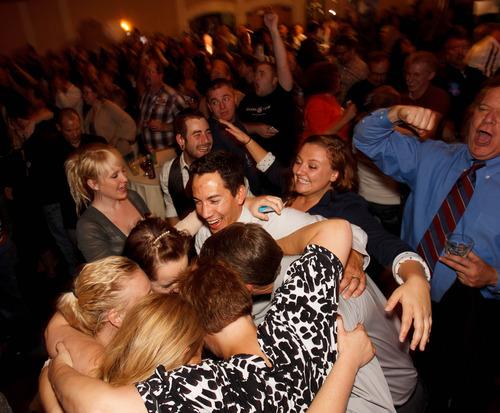 Trent Nelson  |  The Salt Lake Tribune Celebration as a Barack Obama victory is announced at the Salt Lake Sheraton Hotel, Democratic headquarters on election night Tuesday, Nov. 6, 2012, in Salt Lake City.