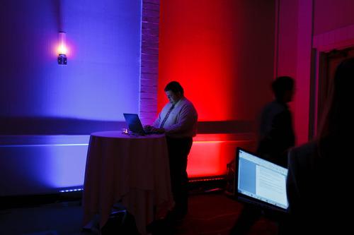 Trent Nelson  |  The Salt Lake Tribune Blogger Bob Aagard works his laptop at the Salt Lake Sheraton Hotel, Democratic headquarters on election night Tuesday,  Nov. 6, 2012, in Salt Lake City.
