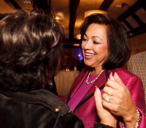 Trent Nelson  |  The Salt Lake Tribune Josie Valdez, candidate for Utah Senate District 8, greets a supporter at the Salt Lake Sheraton Hotel, Democratic headquarters, on election night Tuesday, Nov. 6, 2012, in Salt Lake City.