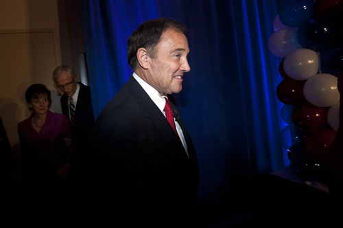 Chris Detrick  |  The Salt Lake Tribune Utah Governor Gary R. Herbert during the Republican Election Night Party at the Salt Lake Hilton Hotel Tuesday November 6, 2012.