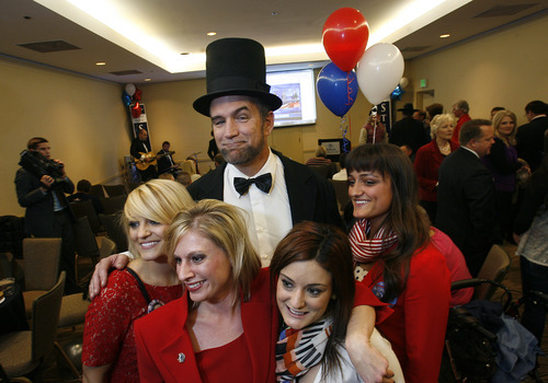 Scott Sommerdorf  |  The Salt Lake Tribune               Dave Moyar, dressed as Abraham Lincoln, poses with 2nd Congressional District cnadidate Chris Stewart supporters at the GOP headquarters at the Hilton Hotel in Salt Lake City, Tuesday, November 6, 2012.
