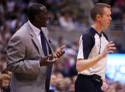 Kim Raff | The Salt Lake Tribune Utah Jazz head coach argues about a call with an official during the second half at EnergySolutions Arena in Salt Lake City, Utah on November 7, 2012. Jazz went on to win the game 95-86.