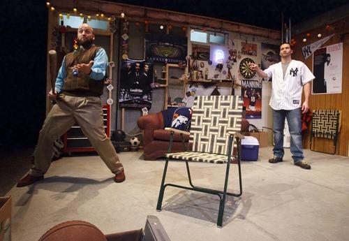 "Leah Hogsten  |  The Salt Lake Tribune Lanny Langston and Jesse Peery in Salt Lake Acting Company's ""Manning Up,"" which runs Nov. 7-Dec. 9, 2012."