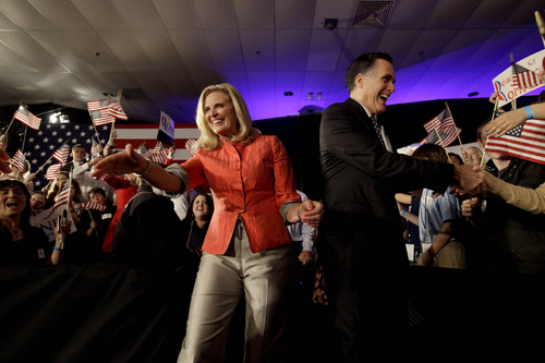 David Goldman  |  AP file photo Republican presidential candidate Mitt Romney greets supporters with wife Ann on the campaign trail in South Carolina. Ann Romney is scheduled to speak on the first night of the Republican National Convention.