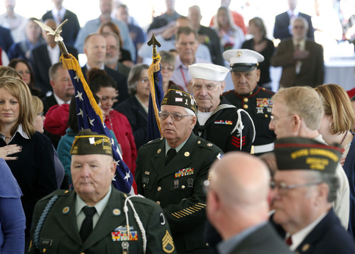 Al Hartmann     The Salt Lake Tribune VFW Post 1695 Honor Guard opens a program Wednesday at the George E. Wahlen VA Medical Center in Salt Lake City to dedicate Valor House, new transitional housing for homeless veterans. The Housing Authority of Salt Lake City and the VA Salt Lake City Healthcare System worked together to build the 72-unit building, where veterans can live for up to two years. Medical care on the VA campus and in-house supportive services will help provide veterans with the tools they need to become self-sufficient and seek permanent housing.