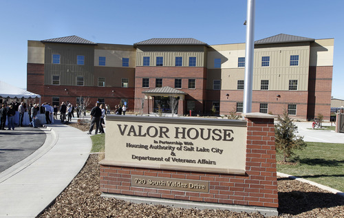 Al Hartmann  |  The Salt Lake Tribune People gathered Wednesday at the George E. Wahlen VA Medical Center in Salt Lake City to dedicate Valor House. Veterans will be able to live for up to two years in the 72-unit transitional housing,  close to services provided on the VA campus.