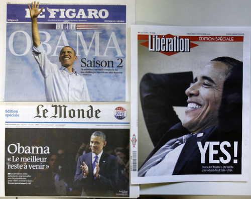 The front pages of special editions of French daily newspapers Le Figaro, Le Monde and Liberation published in Paris  Wednesday Nov. 7, 2012, following the re-election of U.S. President Barack Obama.(AP Photo/Remy de la Mauviniere)