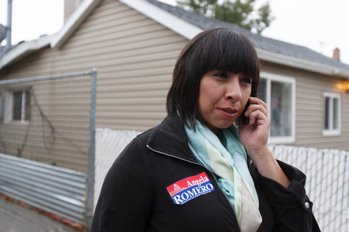 Trent Nelson     Tribune file photo Angela Romero hits the campaign trail before Tuesday's election. Romero won a seat in the Legislature from House District 26. She defeated Andreas Paredes, the only Latino Republican running for the Legislature.