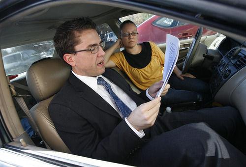 Scott Sommerdorf  |  The Salt Lake Tribune               Josh Weed practices delivering his speech in the parking lot as his sister, Jenni Pratt listens next to him. Weed later spoke at the Circling the Wagons' second annual conference held at the Wasatch Presbyterian Church in Salt Lake City, Saturday, November 3, 2012.