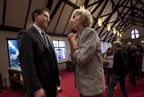 Scott Sommerdorf  |  The Salt Lake Tribune               Sharon Sheranian speaks with Josh Weed after he spoke at the Circling the Wagons' second annual conference held at the Wasatch Presbyterian Church in Salt Lake City, Saturday, November 3, 2012.