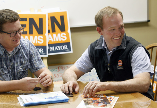 Al Hartmann | The Salt Lake Tribune Ben McAdams, right, reflects on the election a day after being selected as Salt Lake County's next mayor with campaign manager Justin Miller at campaign headquarters in Salt Lake City Wednesday November 7.
