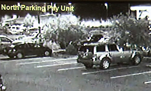 A still image from surveillance video shows a stolen Skywest plane hitting the airport terminal in St. George.
