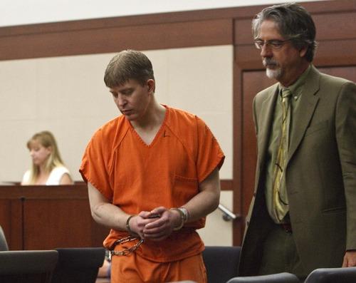 Leah Hogsten     The Salt Lake Tribune Matthew David Stewart, 38, pleaded not guilty in Judge Noel Hyde's 2nd District courtroom to all nine counts Wednesday, Nov. 7, 2012, including aggravated murder for killing Ogden police officer Jared Francom.