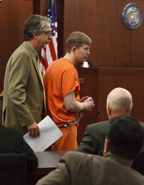 Leah Hogsten     The Salt Lake Tribune Matthew David Stewart, 38, pleaded not guilty in Judge Noel Hyde's 2nd District courtroom to nine counts Wednesday, Nov. 7, 2012, including aggravated murder for killing Ogden police officer Jared Francom.