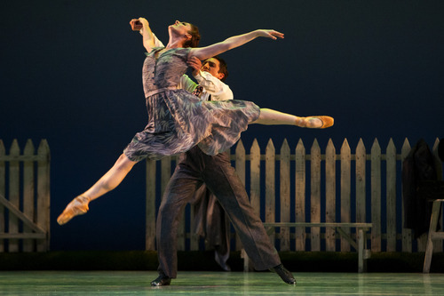 Chris Detrick  |  The Salt Lake Tribune Demi-Soloist Emily Adams and principal artist Christopher Ruud of Ballet West perform 'The Lottery' during a dress rehearsal at the Capitol Theatre Thursday November 1, 2012.