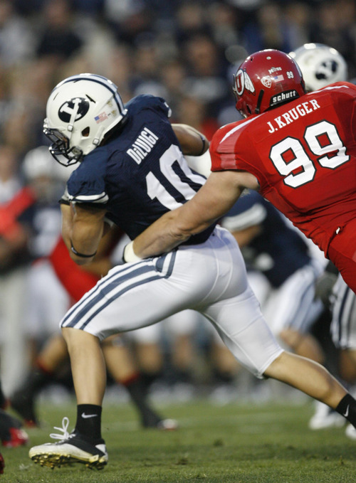 Tribune file photo With just three games to go, Utah defensive end Joe Kruger feels he is just now finding his old form again after an ankle injury.