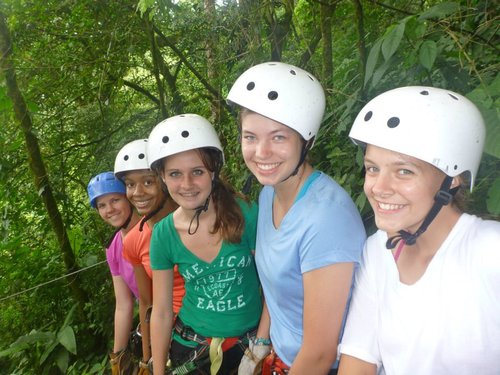 Alannah Hall (fifth from top in pink) pictured with fellow Girl Scouts at a 6,000 foot zipline in Costa Rica where she went this summer on a Girl Scout adventure destination trip through a program called Costa Rica Outward Bound. Courtesy photo