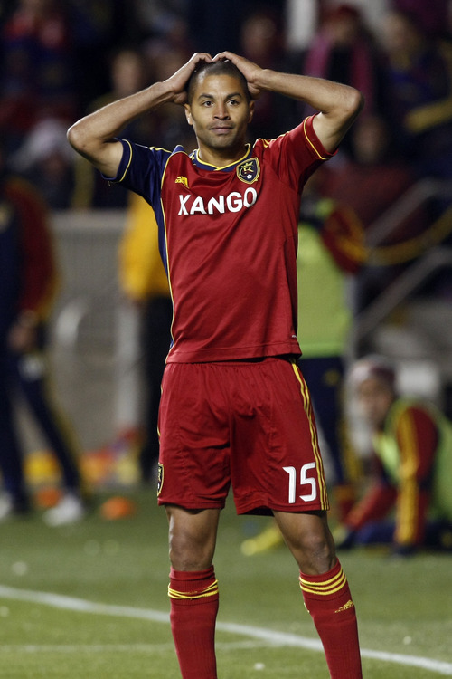 Real Salt Lake forward Alvaro Saborio (15) reacts after missing a shot on goal during the second half of the MLS playoff game at Rio Tinto Stadium Thursday Nov. 8, 2012. Seattle won the game 1-0. (AP Photo/The Salt Lake Tribune, Chris Detrick)