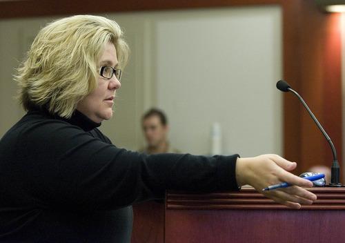 Paul Fraughton  |  Salt Lake Tribune Defense attorney Denise Porter questions Mar Mae Rar Phi during the preliminary hearing of Esar Met on Friday, November 9, 2012. Met is accused of killing 7-year-old Hser Ner Moo in 2008.