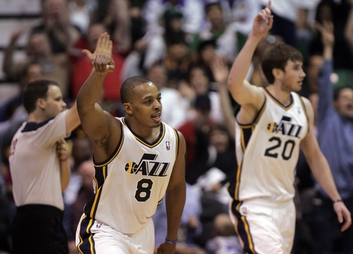 Kim Raff | The Salt Lake Tribune Utah Jazz point guard Randy Foye (8) celebrates making a three point shot during the second half against the LA Lakers during a game at EnergySolutions Arena in Salt Lake City, Utah on November 7, 2012.