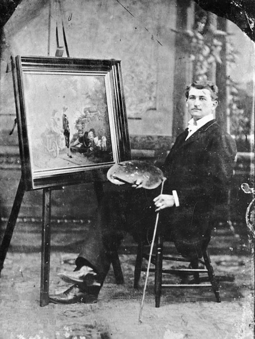 (Photo Courtesy Utah State Historical Society)  Hafen was born in Switzerland in 1856. His parents joined the LDS Church and immigrated to Payson, Utah. In 1868 one of Hafen's main teachers was Karl G. Maeser.  Hafen also learned painting from George Ottinger (also a famous Utah photographer) and Dan Weggeland. Hafen was one of the founders of the Utah Art Association in 1881. After he completed a Mormon mission to Paris, he returned to Utah and created murals in the Salt Lake Temple. Hafen, a resident of Springville, donated paintings that were the initial basis of the Springville Art Museum.