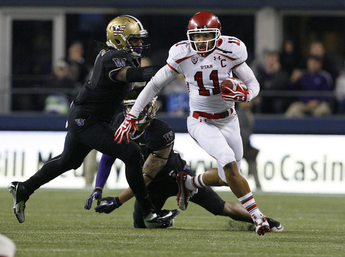 Scott Sommerdorf  |  The Salt Lake Tribune               Utah Utes wide receiver Luke Matthews (11) breaks away for an early gain on a pass during first half play. Utah trailed Washington 14-8 at the half at Century Link Field in Seattle, Saturday, November 10, 2012.