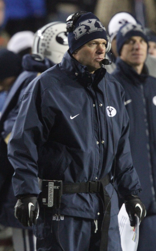 Rick Egan  | The Salt Lake Tribune   Brigham Young Cougars head coach Bronco Mendenhall, on the sidelines  in football action, BYU vs. Idaho Vandals, at Lavell Edwards Stadium, Saturday, November 10, 2012