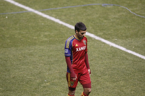 Chris Detrick  |  The Salt Lake Tribune Real Salt Lake midfielder Javier Morales (11) walks off of the field after the Major League Soccer playoff game at Rio Tinto Stadium Thursday November 8, 2012. Seattle won the game 1-0.