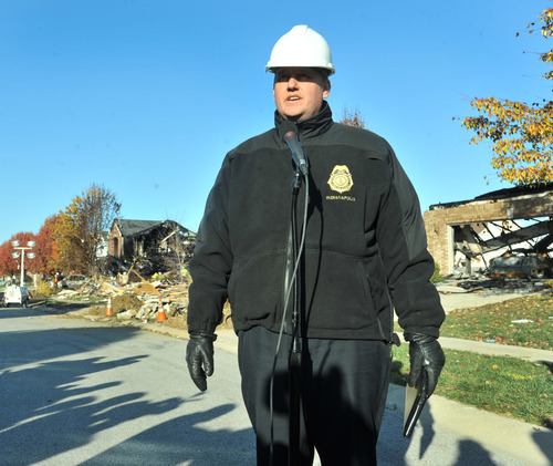 Gary Coons, Chief, Division of Homeland Security Indianapolis, speaks at a press conference on Fieldfare Way in the Richmond Hills subdivision Monday, Nov. 12, 2012. An explosion, originating on Fieldfare Way, destroyed or damaged as many as 80 structures in the subdivision late Saturday night November 10, 2012. (AP Photo/The Indianapolis Star, Joe Vitti)
