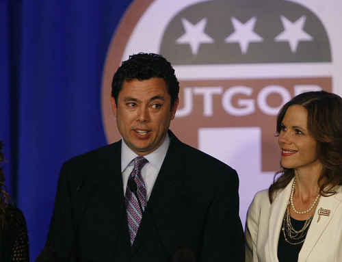 "Scott Sommerdorf  |  The Salt Lake Tribune               Congressman Jason Chaffetz speaks saying ""there is a lot of work to do"" referring to the re-election of President Barack Obama with his wife Julie tat his side, Tuesday, November 6, 2012"