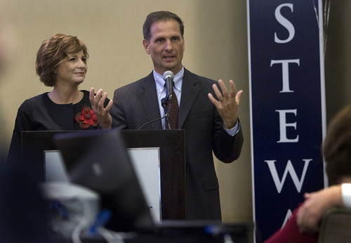 Scott Sommerdorf  |  The Salt Lake Tribune               2nd Congressional candidate Chris Stewart and his wife, Evie, thank campaign workers and supporters at the GOP headquarters at the Hilton Hotel in Salt Lake City, Tuesday, November 6, 2012