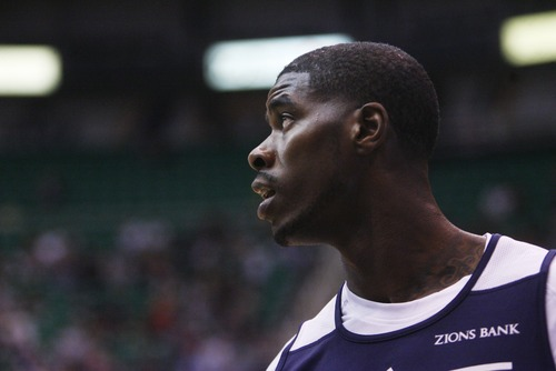 Kim Raff | The Salt Lake Tribune Marvin Williams looks out on the court before the Jazz Scrimmage at EnergySolutions Arena in Salt Lake City on Oct. 6, 2012.