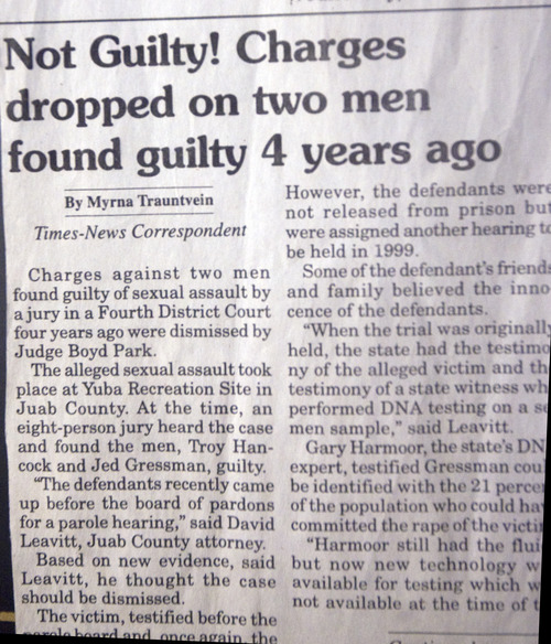 Kim Raff  |  The Salt Lake Tribune Another newspaper story about Troy Hancock and Jed Gressman, reporting that charges against the men were dropped. November 9, 2012.