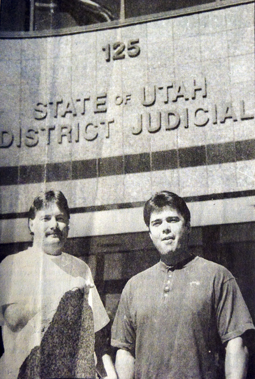Kim Raff  |  The Salt Lake Tribune Jed Gressman (left) and  Troy Hancock are shown in a photo published in the Provo Daily Herald  on July 16, 1996, after charges against the two men were dropped on the basis of DNA evidence. Grossman was exonerated and attempted to get a payout from the state, which was granted by a judge. He died before getting the money and his widow is now fighting for the restitution.