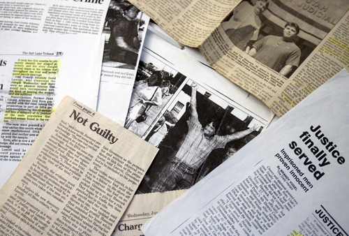 Kim Raff  |  The Salt Lake Tribune A collection of newspaper clippings that chronicles the story of  Troy Hancock and Jed Gressman who were found guilty of sexual-assault related charges, which were later dropped on the basis of DNA evidence.