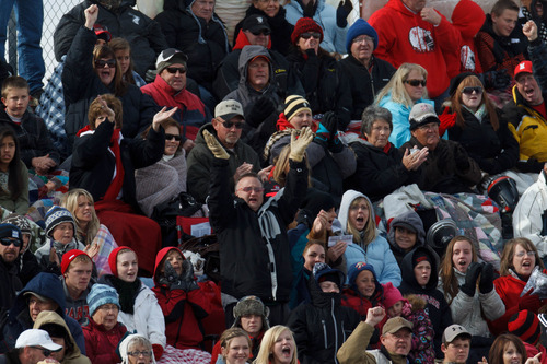 Trent Nelson  |  The Salt Lake Tribune Manti fans cheer on their team. Manti vs. San Juan High School, 2A state football championship, Saturday November 10, 2012 in Pleasant Grove.