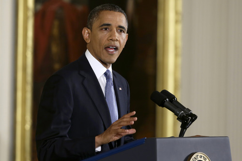 President Barack Obama makes an opening statement during his first news conference after Election Day, Wednesday, Nov. 14, 2012, in the East Room of the White House in Washington. (AP Photo/Charles Dharapak)
