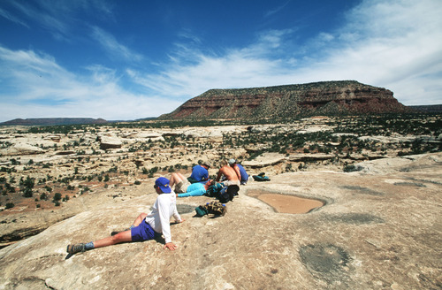 Al Hartmann  |  The Salt Lake Tribune Hikers take a break near Cheese Box Butte overlooking White Canyon.