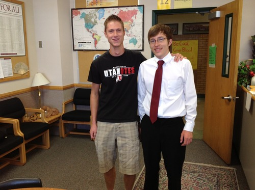 Courtesy Canyons School District Jacob Brown, left, and Micah Johnston, seniors at Hillcrest High School who earned perfect scores on the ACT.
