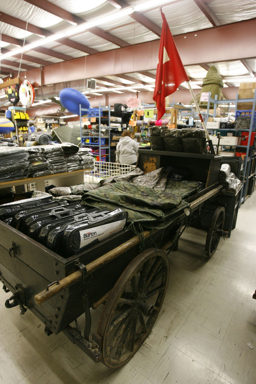 Francisco Kjolseth  |  The Salt Lake Tribune The old Army Surplus Store at 4974 S. Redwood Road is slowly moving into a different era as surplus is more difficult to find. Military props abound however with a Sergeant missile in the front parking lot, old jeep and artillery horse-drawn wagon as well as planes and bombs hanging from the rafters.