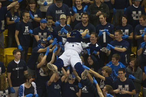 Chris Detrick  |  The Salt Lake Tribune Big Blue crowd surfs during the first half of the game at Dee Glen Smith Spectrum Thursday November 15, 2012. St. Mary's is winning the game 34-31.