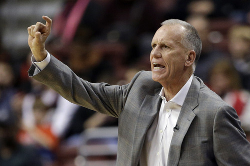 Philadelphia 76ers head coach Doug Collins directs his team in the first half of an NBA basketball game against the Utah Jazz, Friday, Nov. 16, 2012, in Philadelphia. (AP Photo/Matt Slocum)