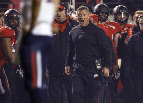Scott Sommerdorf  |  The Salt Lake Tribune               Utah Utes head coach Kyle Whittingham is livid with an illegal hands to the face penalty against Joe Kruger with Arizona close to the goal line. Arizona defeated Utah 34-24 at Rice-Eccles Stadium, Saturday, November 17, 2012.