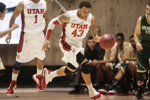 Kim Raff  |  The Salt Lake Tribune University of Utah player Cedric Martin dribbles the ball down the court against Sacramento State during a men's basketball game at the Huntsman Center in Salt Lake City on November 16, 2012. They went on to lose the game 71-74.