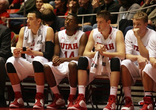 Kim Raff  |  The Salt Lake Tribune Players on the University of Utah bench react to loosing their lead against Sacramento State during a men's basketball game at the Huntsman Center in Salt Lake City on November 16, 2012. They went on to lose the game 71-74.